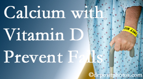 Calcium and vitamin D supplementation may be suggested to Pensacola chiropractic patients who are at risk of falling.