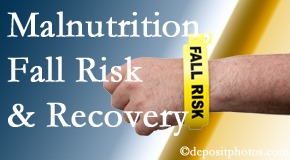 Pensacola Spinal Rehab Center checks patients for fall risks which include nutritional status and malnutrition indicators.