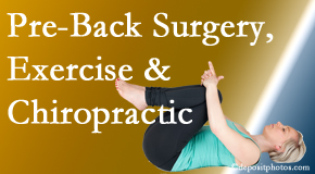 Pensacola Spinal Rehab Center offers beneficial pre-back surgery chiropractic care and exercise to physically prepare for and possibly avoid back surgery.