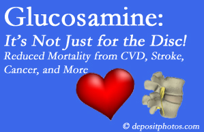 Pensacola health benefits from glucosamine use include reduced overall early mortality and mortality from cardiovascular issues.
