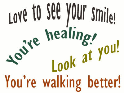 Use positive words to support your Pensacola loved one as he/she gets chiropractic care for relief.