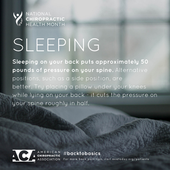 Pensacola Spinal Rehab Center recommends putting a pillow under your knees when sleeping on your back.